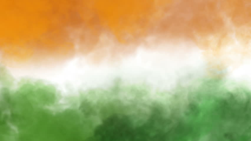 three colors smoke animation, like tricolors of indian national flag