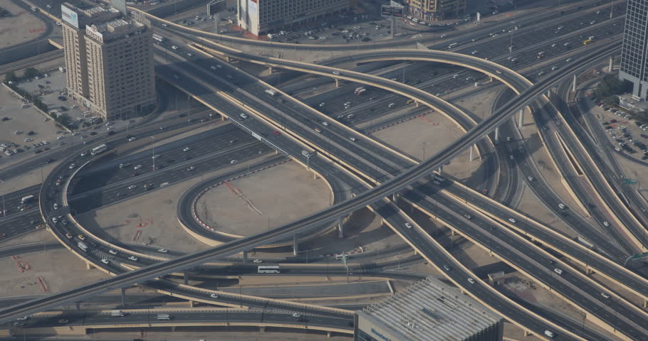 DUBAI, UAE - JANUARY 22, 2014 Elevated Interchange Dubai Cityscape Aerial View Busy Street Freeway Highway Day ( Ultra High Definition, UltraHD, Ultra HD, UHD, 4K, 2160P, 4096x2160 ) | Shutterstock HD Video #8538766
