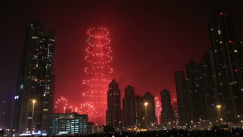 DUBAI - JAN 6 2015 over one million people watching new year fireworks show series at world's tallest tower Burj Khalifa in Dubai United Arab Emirates UAE