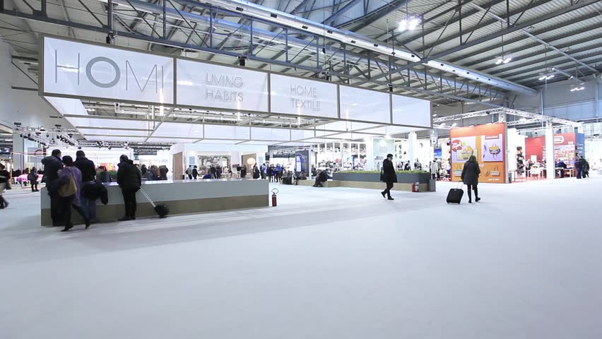 Interior Design Trade Shows milano, italy - january 19, 2015: people visit homi, international