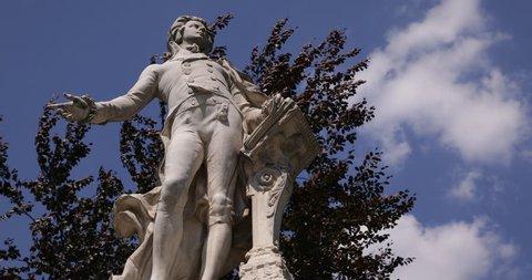 Wolfgang Amadeus Mozart Statue Monument Memorial Burggarten Vienna Close Up Zoom ( Ultra High Definition, UltraHD, Ultra HD, UHD, 4K, 2160P, 4096x2160 )