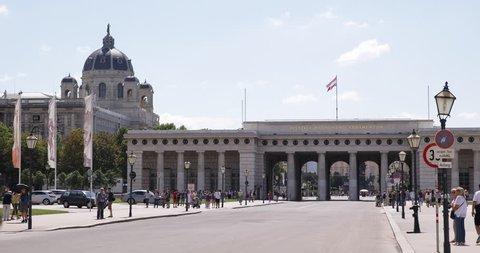 VIENNA, AUSTRIA - SEPTEMBER 15, 2014 Vienna Hofburg Imperial Palace Heroes Square Street People Walk Tourists Visit ( Ultra High Definition, UltraHD, Ultra HD, UHD, 4K, 2160P, 4096x2160 )