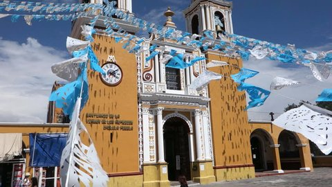 Mexico - Puebla - The Spanish church that sits atop the Great Pyramid of Cholula. 1080p image is flat/ungraded.
