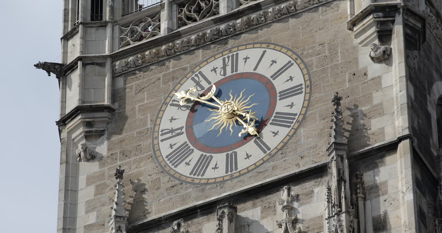 Famous Marienplatz Munich Iconic New Town Hall Clock Tower Close Up Details Zoom Ultra High