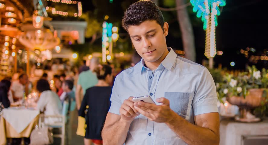 Handsome Young Professional Businessman Tourist Tourism Typing On Smartphone Tablet 3G 4G App Communication Social Network Travel Destination Escape Getaway Technology Tech Savvy Intelligent Confident | Shutterstock HD Video #8593096