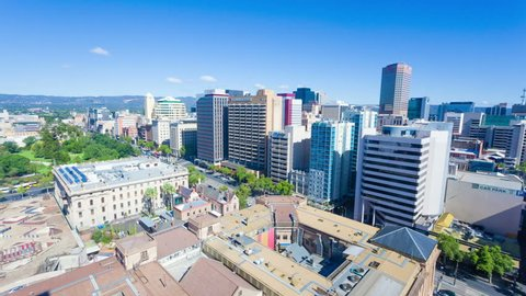 Adelaide, Australia - January 16, 2015: Timelapse video of downtown Adelaide from day to night. Adelaide is the capital city of South Australia and the fifth largest city in Australia