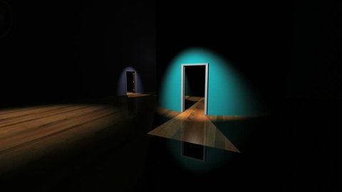 Hallway of closing doors, last door opens