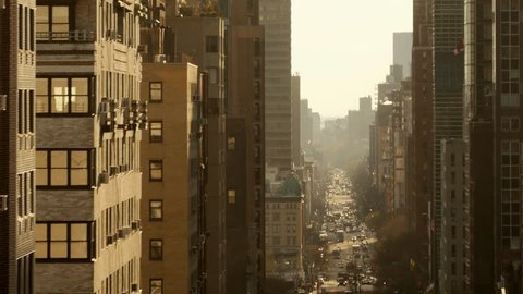 long city street from above. mew york city architecture background