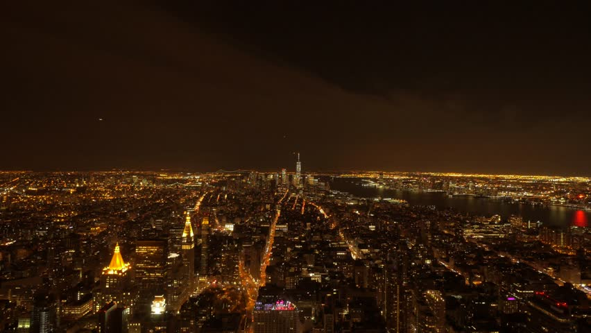 Panoramic view of city at night. new york city night lights background | Shutterstock HD Video #8661916