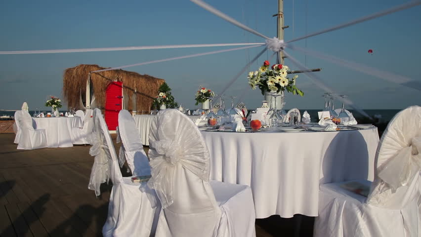 Wedding Setting On The Beach Stock Footage Video 100 Royalty
