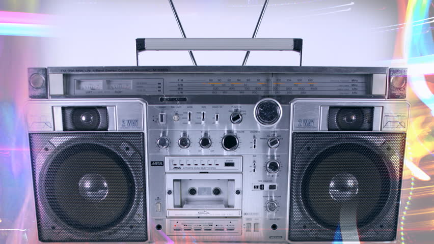 stop-motion of a fantastic looking retro ghetto blaster coming alive