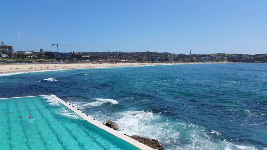 BONDI BEACH, SYDNEY, AUSTRALIA: Bondi Beach or Bondi Bay is a popular beach on a hot summers in Sydney, Australia on January 22, 2015.