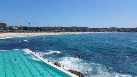 BONDI BEACH, SYDNEY, AUSTRALIA: Bondi Beach or Bondi Bay is a popular beach on a hot summers in Sydney, Australia on January 22, 2015.