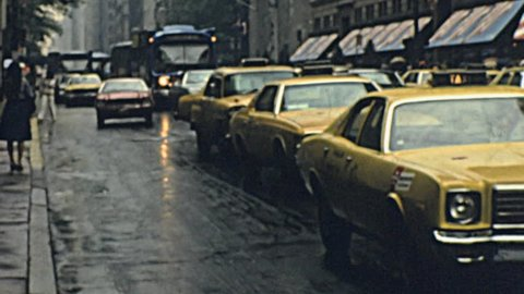 NEW YORK - 1976: heavy traffic in the street in 1976 in New York