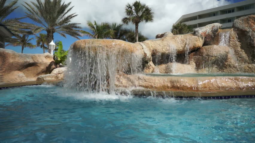 Architectural Detail Of A Big Luxury Swimming Pool With Waterfalls