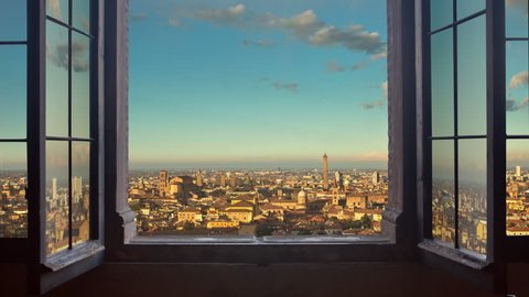 bologna cityscape as seen from behind a window day to night timelapse at the sunset to night city lighting up panorama 4k