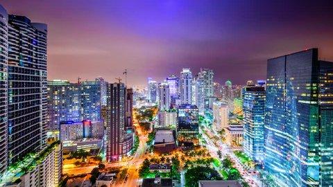 Miami, Florida, USA downtown night time skyline time lapse.