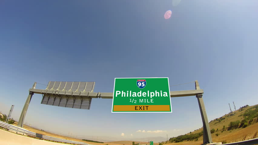 4K Driving on Highway/interstate,  Exit sign of the City Of Philadelphia, Pennsylvania