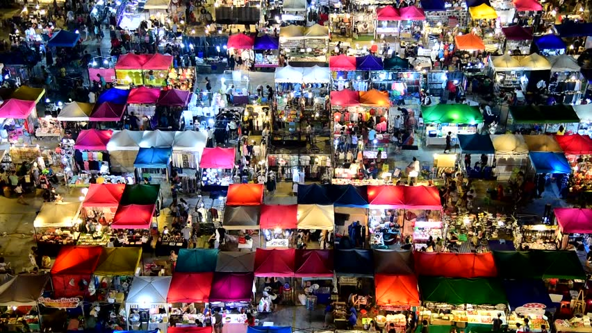 Night market high view from building colorful tent retail shops and lighting | Shutterstock HD Video #8845696