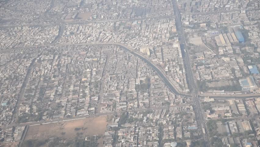 Bird eye view of Ahmedabad city from flight, Gujarat, India, South East Asia.