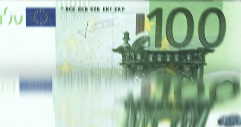 [loopable] Banknotes counting machine. Enumerating european 100 euro bills. Infinite flow of money. Source: CGI rendering. Clip ID: ax319c