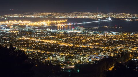 4k time lapse of San Francisco and other parts of the Bay Area including the new span of the Bay Bridge, shot from a high vantage point in the Berkeley hills. 1080p pan and zoom version also available