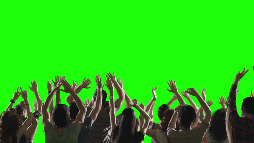 FEW SHOTS! Crowd of fans dancing on green screen. Concert, jumping, Dancing.  Slow motion.  Shot on RED EPIC Cinema Camera.