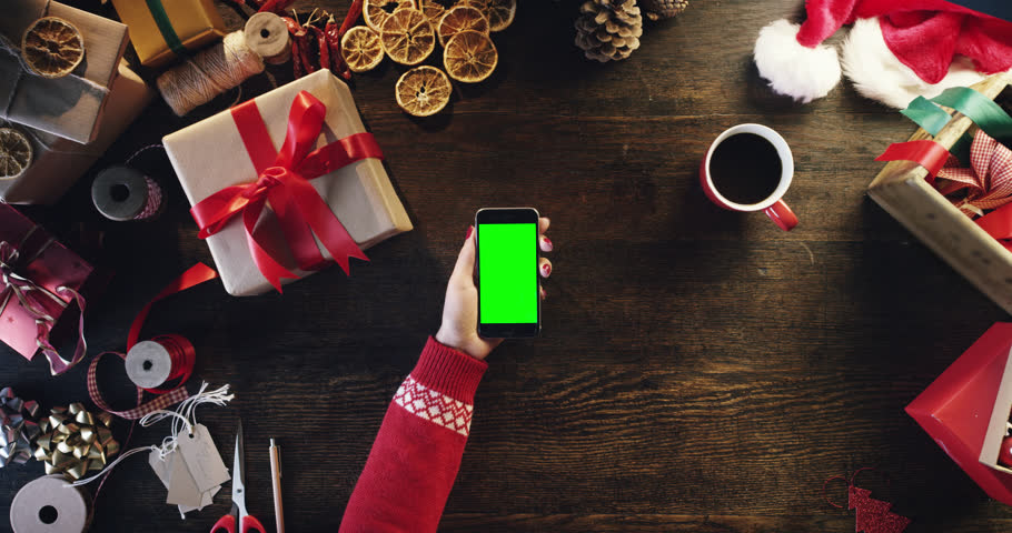 Christmas Top View.Top View Woman Hands Using Stock Footage Video 100 Royalty Free 8885446 Shutterstock