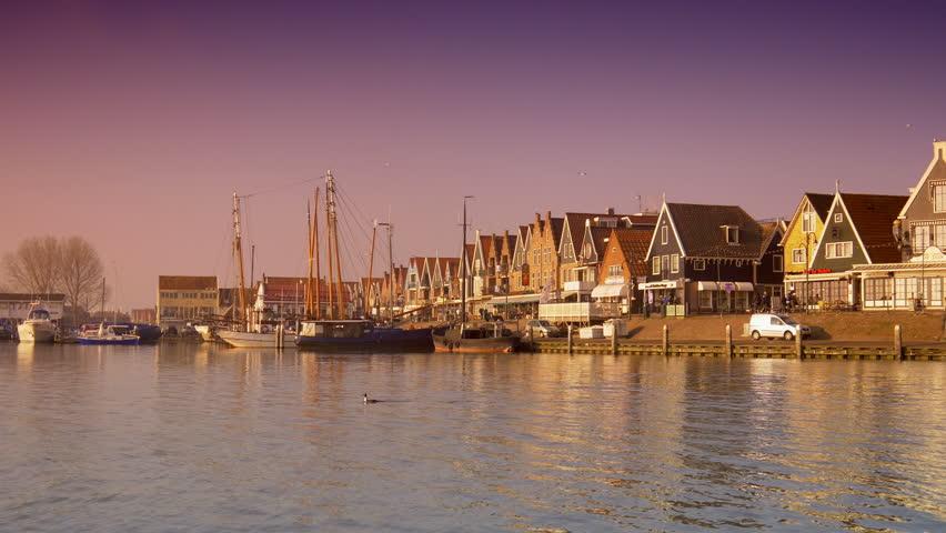 Harbor at sunset. Volendam, The Netherlands 4K