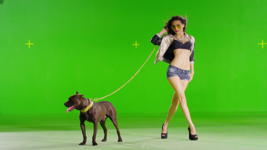 4K Hot girl walking & dancing. With mad pitbull dog. With real strobe lights on body. Slow motion. Green screen. Shot on RED EPIC Cinema Camera.