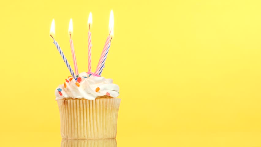 Tasty Birthday Cupcake With One Stock Footage Video 100