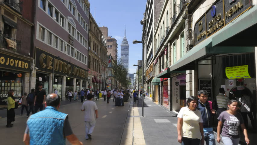 MEXICO CITY - CIRCA FEBRUARY 2015 - Hyper-lapse of shops along Avenue Francisco I Madero, one of the main pedestrianized shopping streets in the Historic Center of Mexico City.
