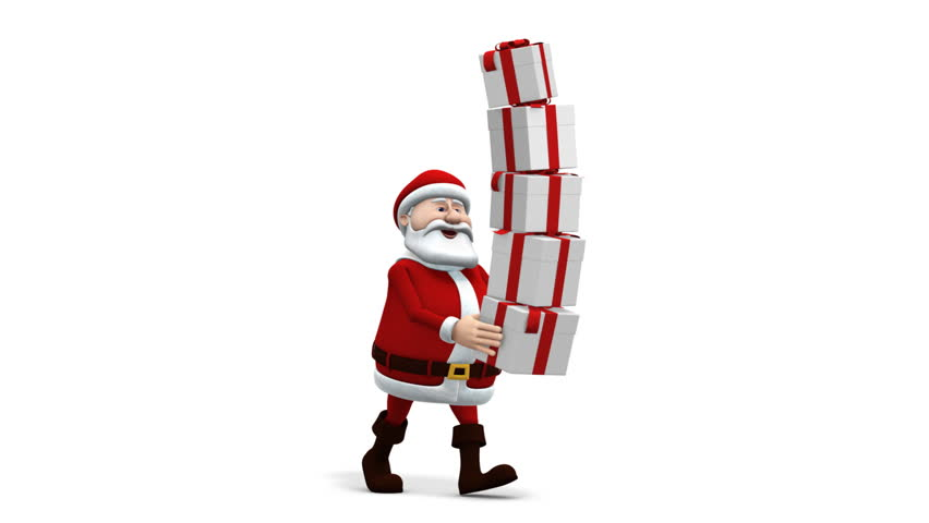 cartoon santa claus balancing presents - walk cycle - loopable 3d animation