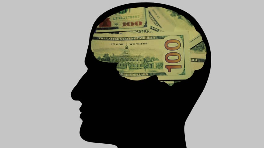 The man's head, in the brain thought of dollars. Recalculates bills. Outline silhouette of a man's head with the brain in the shape of pouring money.