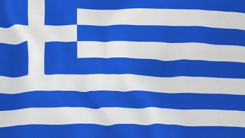 [loopable] Flag of Greece. Greek official flag gently waving in the wind. Highly detailed fabric texture for 4K resolution. 15 seconds loop. Source: CGI rendering. Clip ID: ax659c