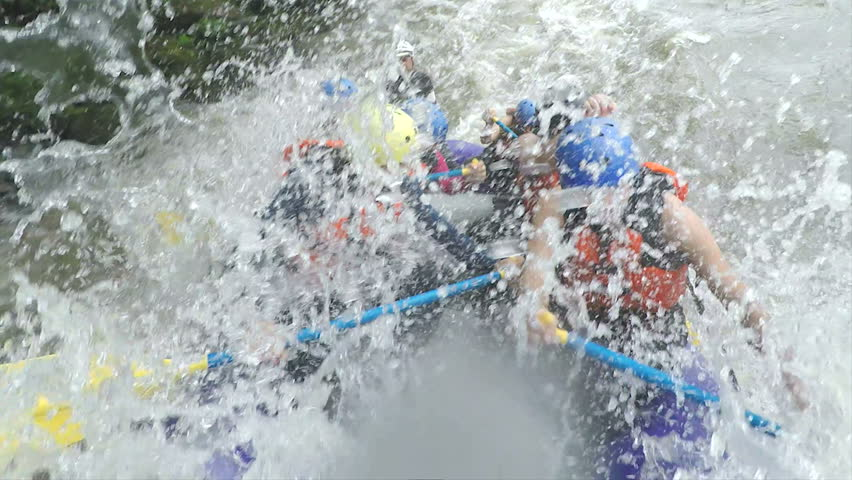 Group Of Young People On Whitewater Rafting Boat Fast Turn , Onboard Camera With Audio