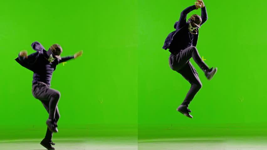 FEW SHOTS! Professional Hip Hop break dance. In mask Dancing on Green screen. Few shots. Slow motion.
