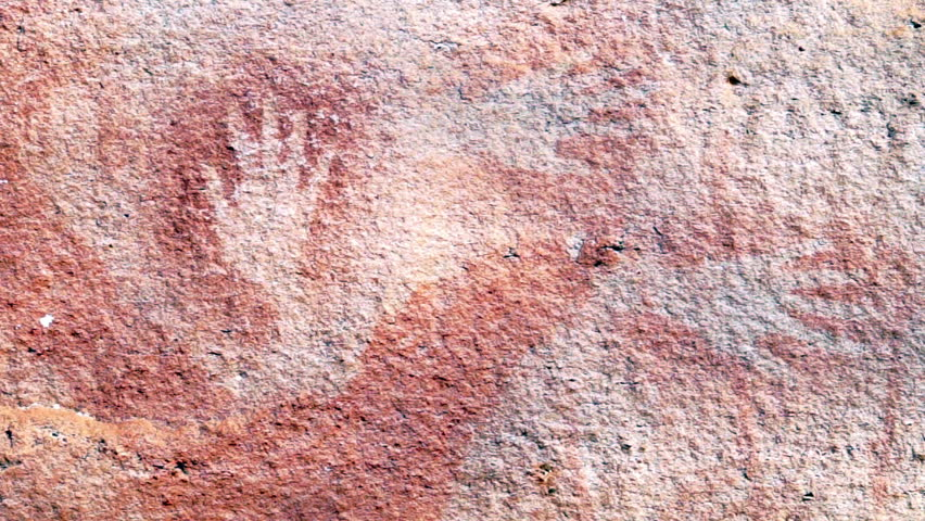 Old drawing and red color painting ancient 3000bc in Pha Team National Park in Ubon Ratchathani Province Thailand