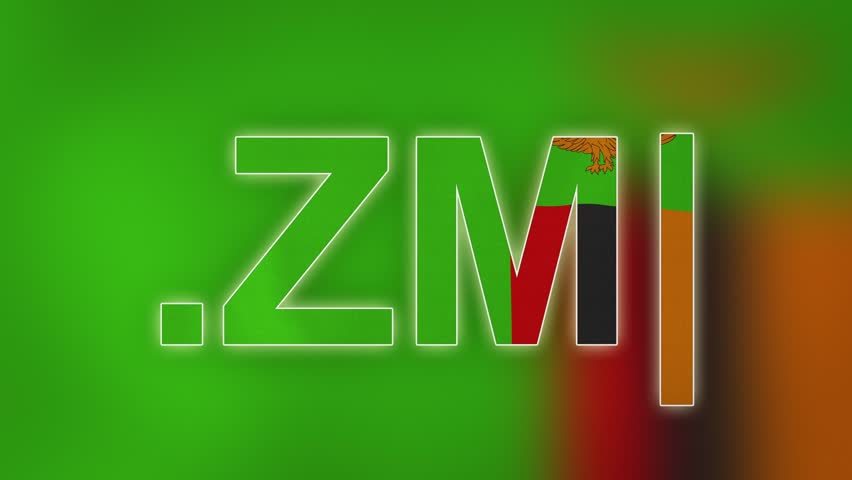 """ZM - internet domain of Zambia. Typing top-level domain """".ZM"""" against blurred waving national flag of Zambia. Highly detailed fabric texture for 4K resolution. Source: CGI rendering. Clip ID: ax1074c"""
