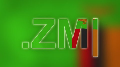 "ZM - internet domain of Zambia. Typing top-level domain "".ZM"" against blurred waving national flag of Zambia. Highly detailed fabric texture for 4K resolution. Source: CGI rendering. Clip ID: ax1074c"