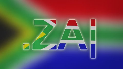 "ZA - internet domain of South Africa. Typing top-level domain "".ZA"" against blurred waving national flag of South Africa. Highly detailed fabric texture for 4K resolution. Clip ID: ax1032c"