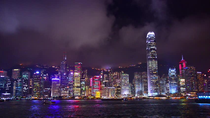 Hong Kong, China nighttime skyline footage.   Shutterstock HD Video #8999338