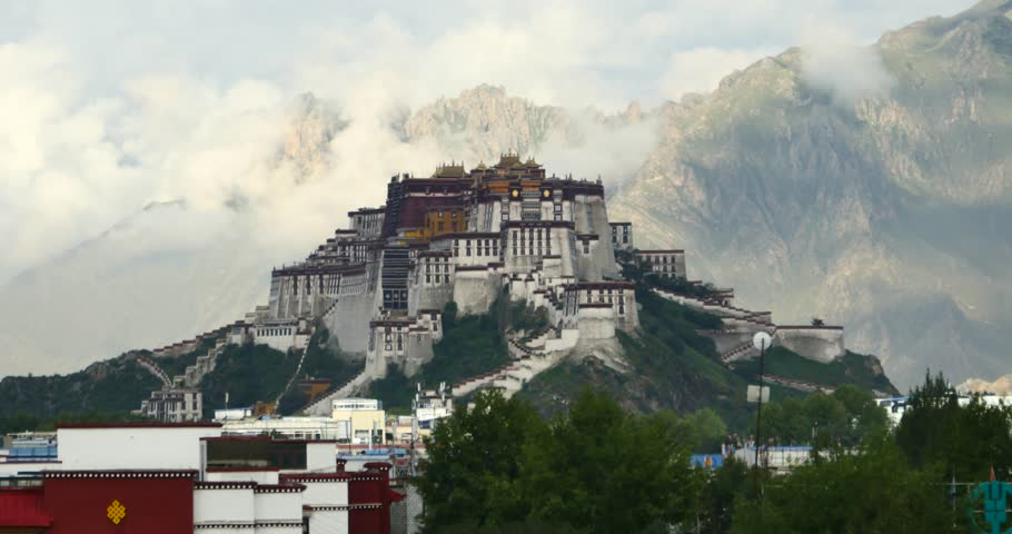 4k Potala Palace in the morning,mountains surrounded by clouds. gh2_08674_4k