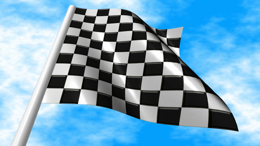 Checkered Racing Flag Waving On A Blue Sky Background. Seamless Loop.