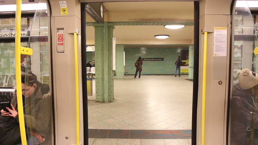 hd0006BERLIN GERMANY - 28 JANUARY 2015 View of automatic closing doors shot from inside of underground railway train on the U-bahn in Berlin. & Stock video of berlin germany - 28 january 2015: | 9052546 ...