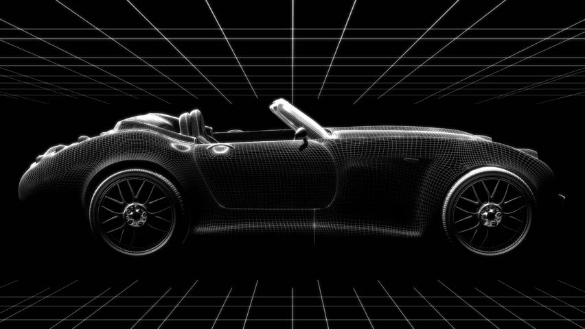 Rotating 3D Model Of A Sports Car. Looping Animation.   HD Stock Footage  Clip