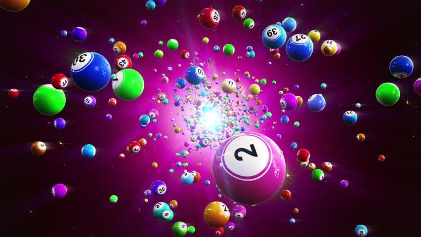 Lottery balls loopable background. Flight colored bingo balls