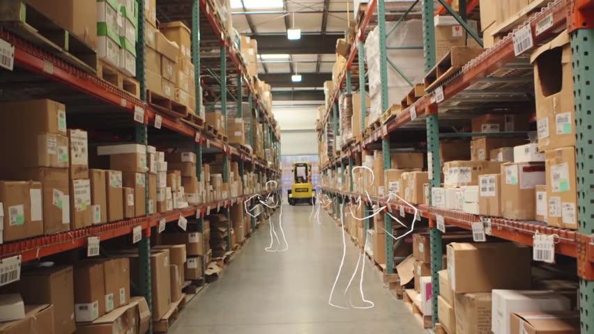 Camera Cranes Up On Shelves Of Cardboard Boxes Inside A