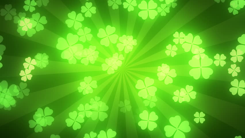 Falling clover leaves on green radial background. Saint Patrick's day (St Patrick's) holiday background. Seamless loop. Different colors background is available.