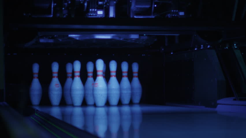 Ball is Hitting Bowling Skittles. Shot on RED Cinema Camera in 4K (UHD).